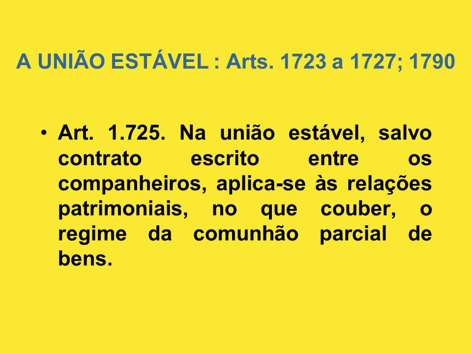 A UNIÃO ESTÁVEL : Arts. 1723 a 1727; 1790 •Art. 1.725. Na união estável, salvo contrato escrito entre os companheiros, aplica-se às relações patrimoni