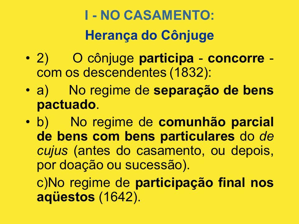 I - NO CASAMENTO: •2) O cônjuge participa - concorre - com os descendentes (1832): •a) No regime de separação de bens pactuado. •b) No regime de comun