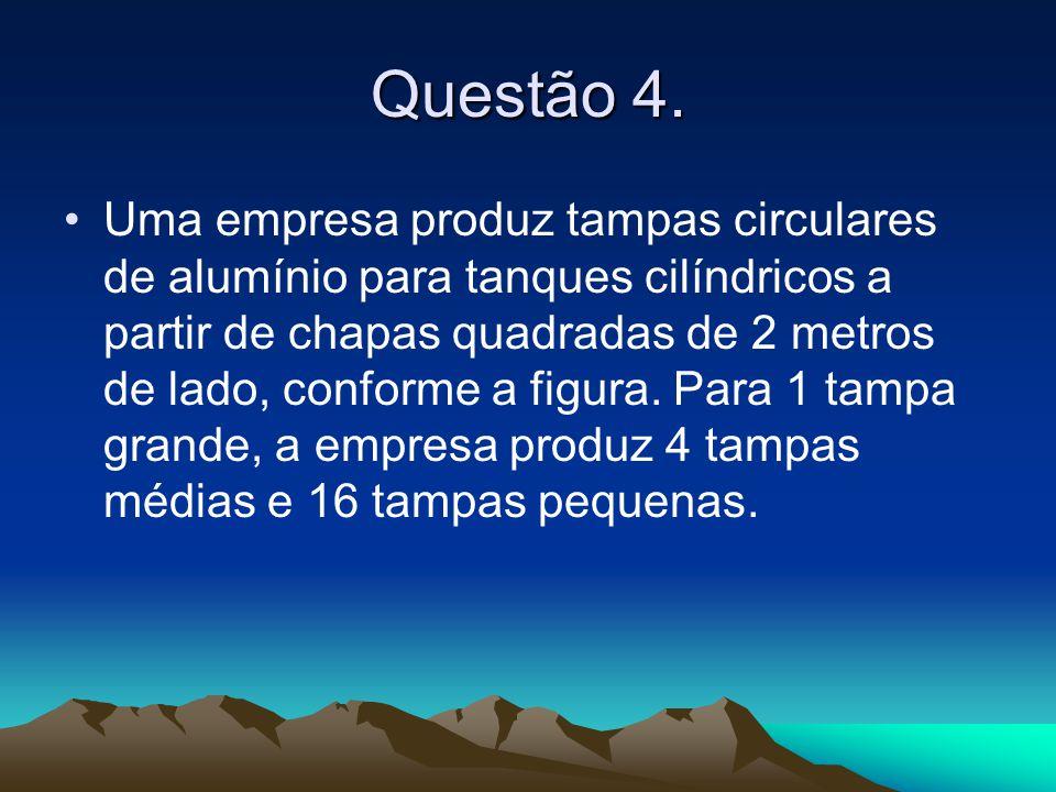 Questão 4. •Uma empresa produz tampas circulares de alumínio para tanques cilíndricos a partir de chapas quadradas de 2 metros de lado, conforme a fig