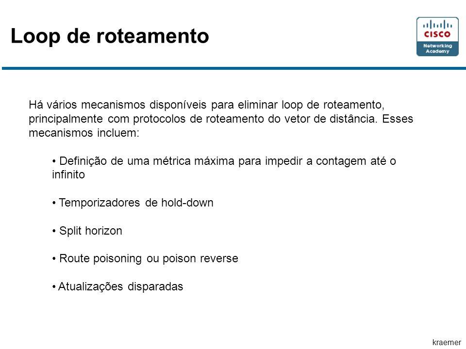 kraemer Loop de roteamento Há vários mecanismos disponíveis para eliminar loop de roteamento, principalmente com protocolos de roteamento do vetor de