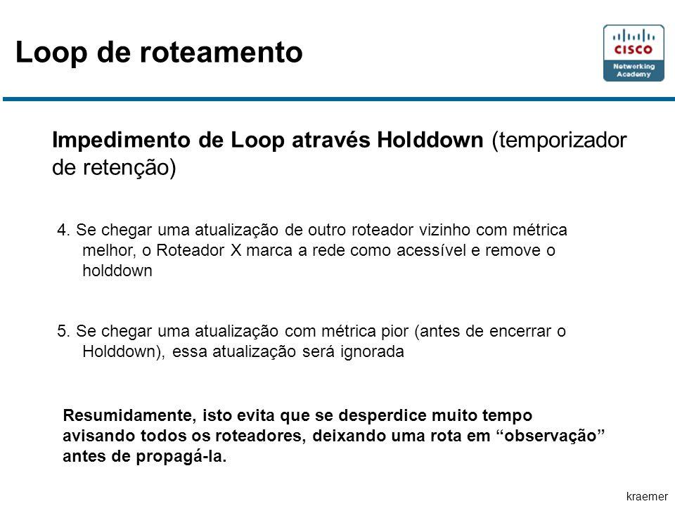kraemer Impedimento de Loop através Holddown (temporizador de retenção) 4. Se chegar uma atualização de outro roteador vizinho com métrica melhor, o R