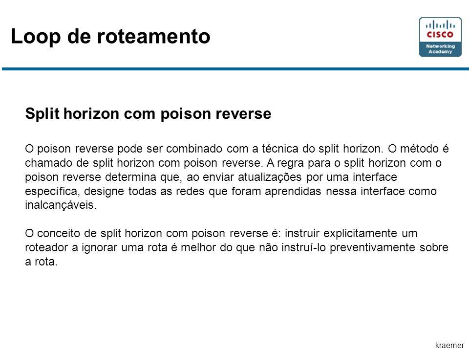 kraemer Loop de roteamento Split horizon com poison reverse O poison reverse pode ser combinado com a técnica do split horizon. O método é chamado de