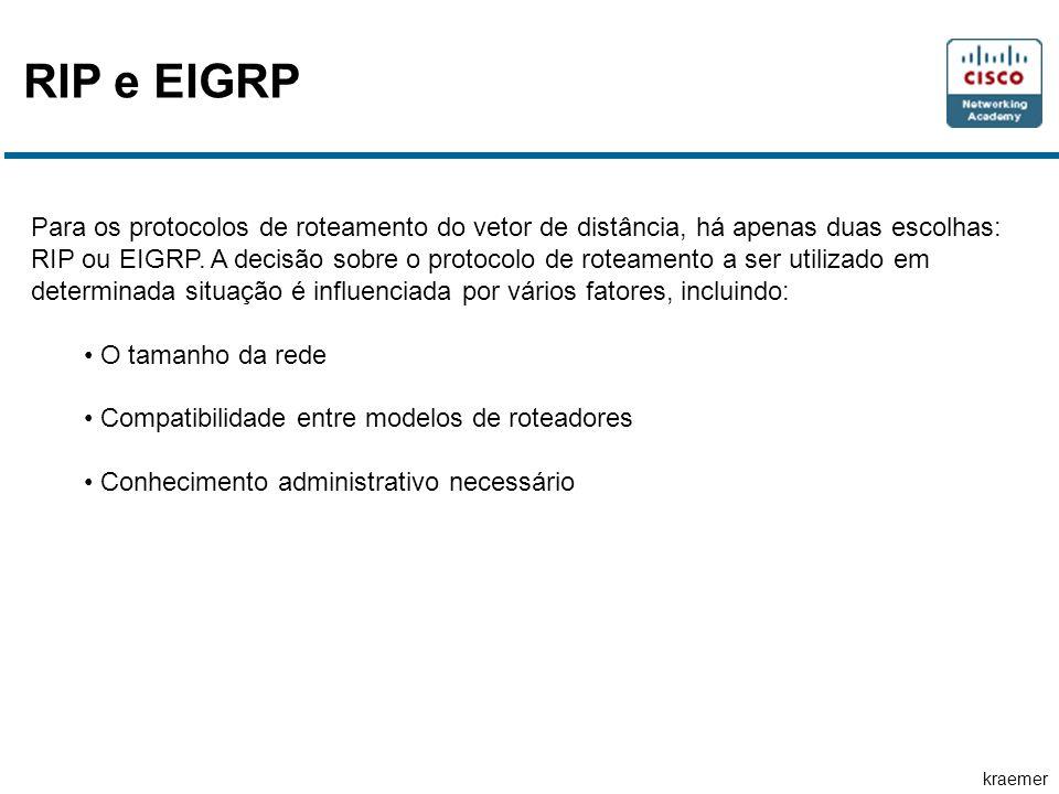 kraemer RIP e EIGRP Para os protocolos de roteamento do vetor de distância, há apenas duas escolhas: RIP ou EIGRP. A decisão sobre o protocolo de rote