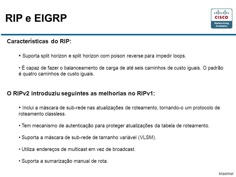 kraemer RIP e EIGRP Características do RIP: • Suporta split horizon e split horizon com poison reverse para impedir loops. • É capaz de fazer o balanc