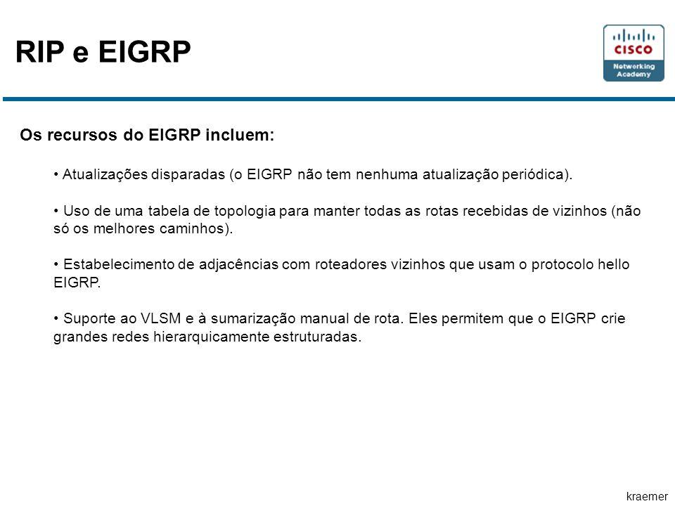 kraemer RIP e EIGRP Os recursos do EIGRP incluem: • Atualizações disparadas (o EIGRP não tem nenhuma atualização periódica). • Uso de uma tabela de to