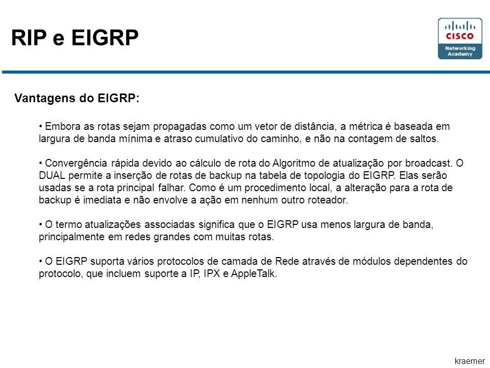 kraemer RIP e EIGRP Vantagens do EIGRP: • Embora as rotas sejam propagadas como um vetor de distância, a métrica é baseada em largura de banda mínima