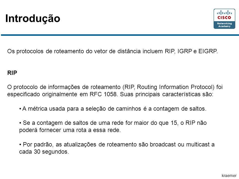 kraemer Introdução Os protocolos de roteamento do vetor de distância incluem RIP, IGRP e EIGRP. RIP O protocolo de informações de roteamento (RIP, Rou