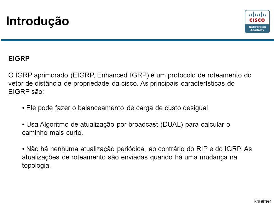 kraemer Introdução EIGRP O IGRP aprimorado (EIGRP, Enhanced IGRP) é um protocolo de roteamento do vetor de distância de propriedade da cisco. As princ