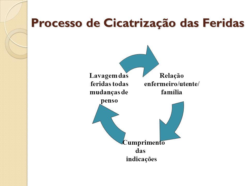 Processo de Cicatrização das Feridas Relação enfermeiro/utente/ família Cumprimento das indicações Lavagem das feridas todas mudanças de penso