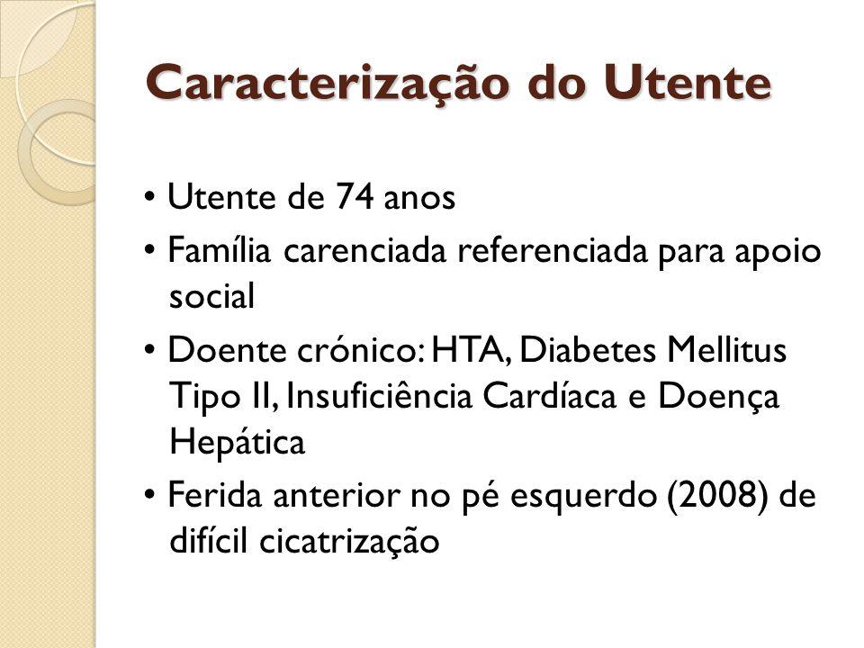 Caracterização do Utente • Utente de 74 anos • Família carenciada referenciada para apoio social • Doente crónico: HTA, Diabetes Mellitus Tipo II, Ins