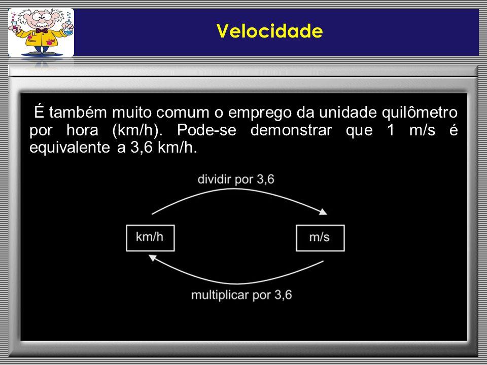 É também muito comum o emprego da unidade quilômetro por hora (km/h).