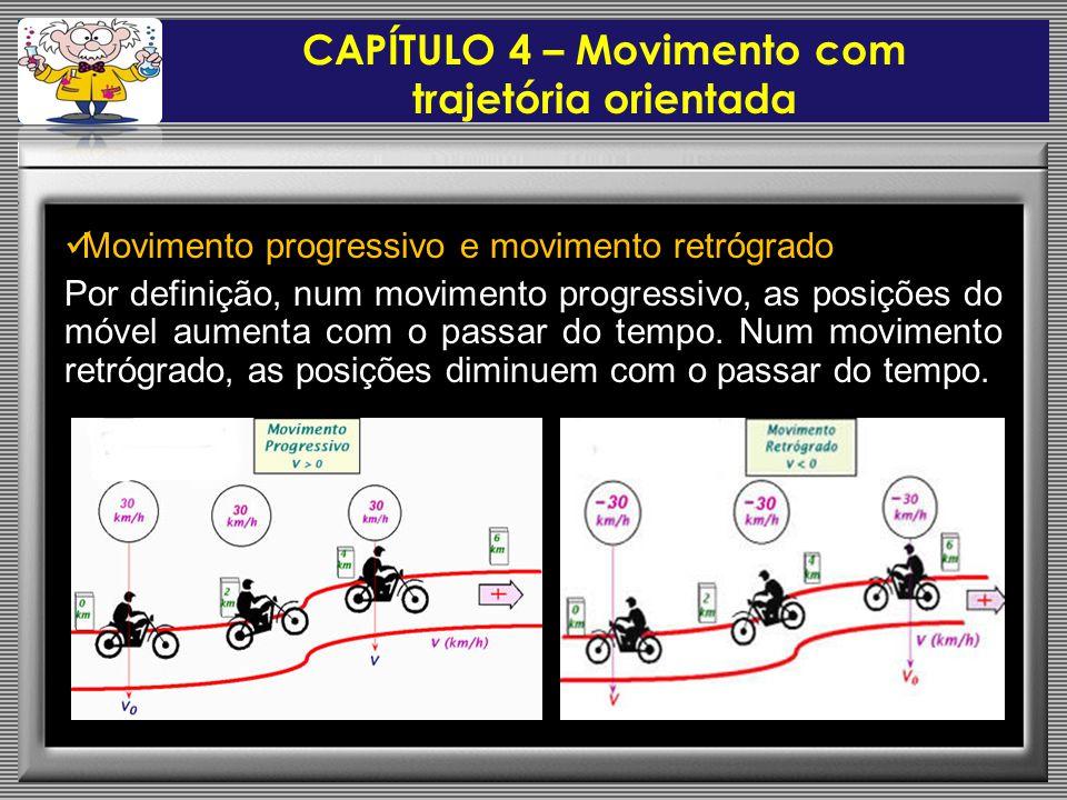  Movimento progressivo e movimento retrógrado Por definição, num movimento progressivo, as posições do móvel aumenta com o passar do tempo.