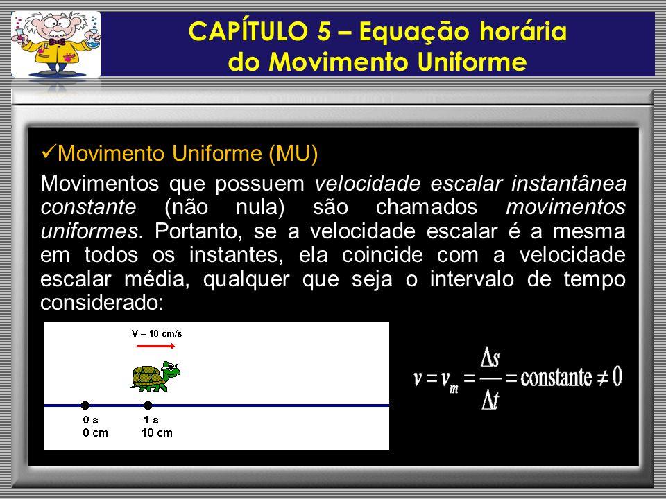  Movimento Uniforme (MU) Movimentos que possuem velocidade escalar instantânea constante (não nula) são chamados movimentos uniformes.