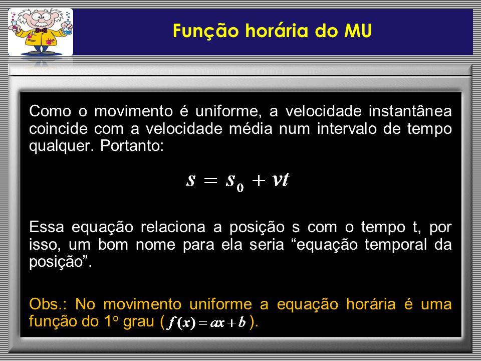 Como o movimento é uniforme, a velocidade instantânea coincide com a velocidade média num intervalo de tempo qualquer.