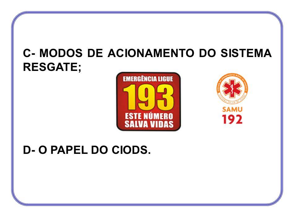 C- MODOS DE ACIONAMENTO DO SISTEMA RESGATE; D- O PAPEL DO CIODS.