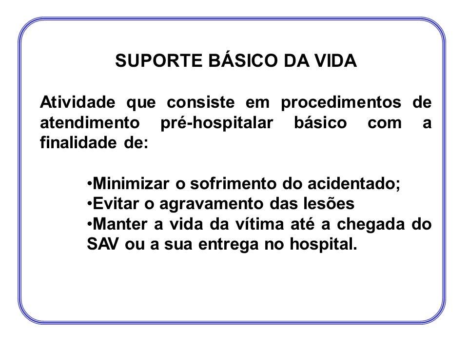 SUPORTE BÁSICO DA VIDA Atividade que consiste em procedimentos de atendimento pré-hospitalar básico com a finalidade de: •Minimizar o sofrimento do ac