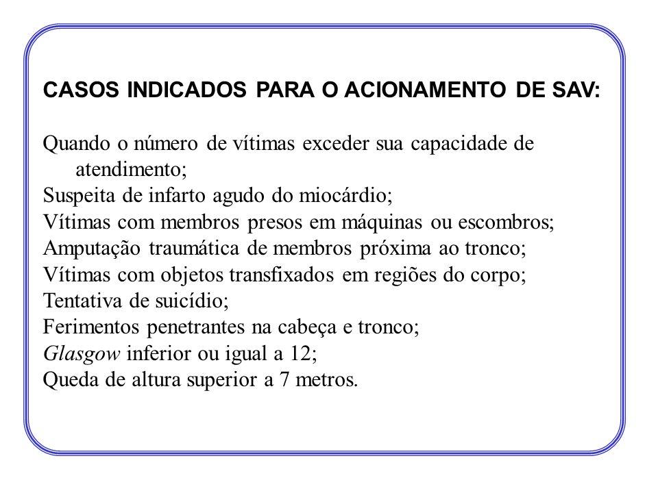 CASOS INDICADOS PARA O ACIONAMENTO DE SAV: Quando o número de vítimas exceder sua capacidade de atendimento; Suspeita de infarto agudo do miocárdio; V