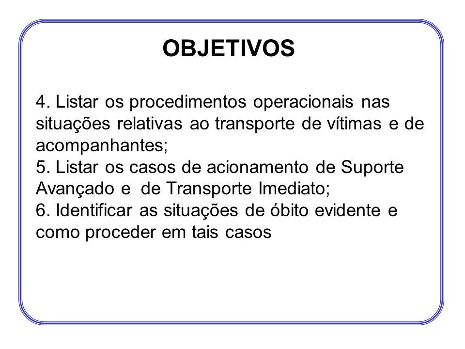 4. Listar os procedimentos operacionais nas situações relativas ao transporte de vítimas e de acompanhantes; 5. Listar os casos de acionamento de Supo