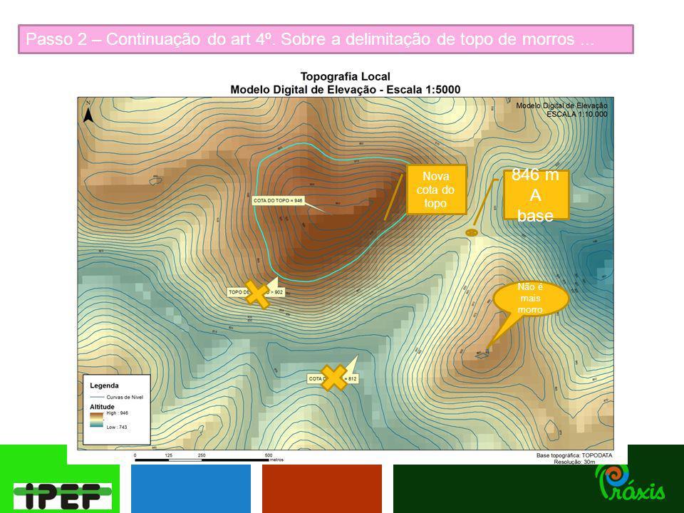 Passo 2 – Continuação do art 4º. Sobre a delimitação de topo de morros... 846 m A base Nova cota do topo Não é mais morro