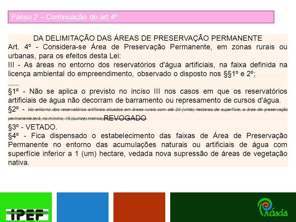 Passo 2 – Continuação do art 4º. DA DELIMITAÇÃO DAS ÁREAS DE PRESERVAÇÃO PERMANENTE Art. 4º - Considera-se Área de Preservação Permanente, em zonas ru