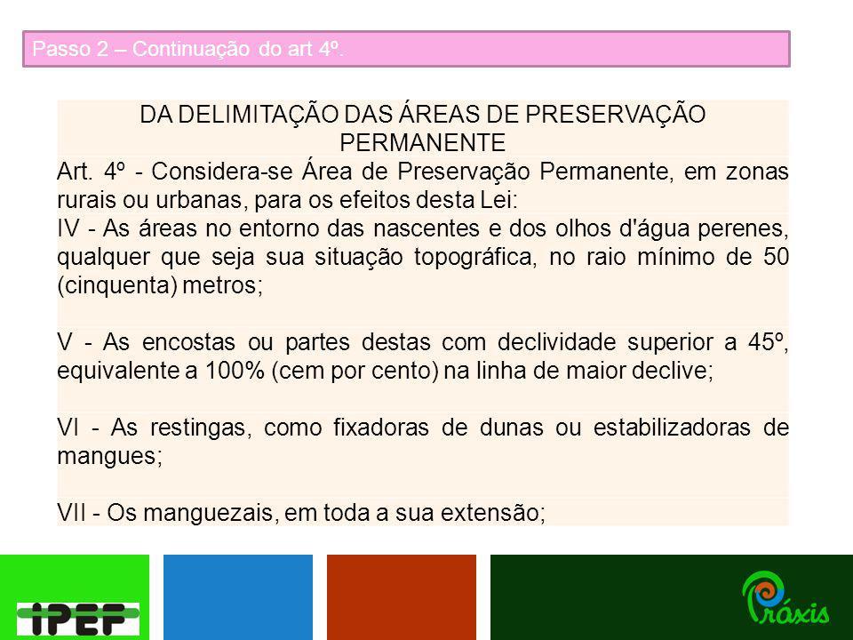Passo 2 – Continuação do art 4º.DA DELIMITAÇÃO DAS ÁREAS DE PRESERVAÇÃO PERMANENTE Art.