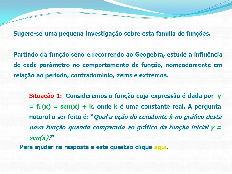 """Situação 1: Consideremos a função cuja expressão é dada por y = f 1 (x) = sen(x) + k, onde k é uma constante real. A pergunta natural a ser feita é: """""""