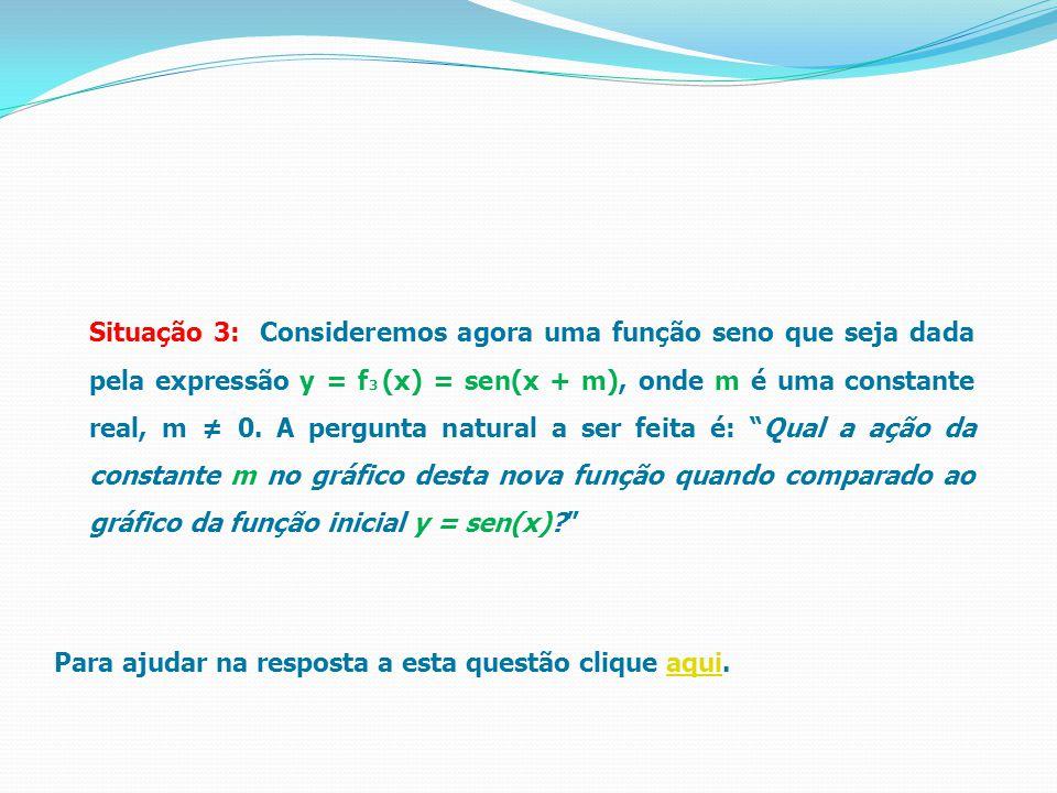 Situação 3: Consideremos agora uma função seno que seja dada pela expressão y = f 3 (x) = sen(x + m), onde m é uma constante real, m ≠ 0. A pergunta n