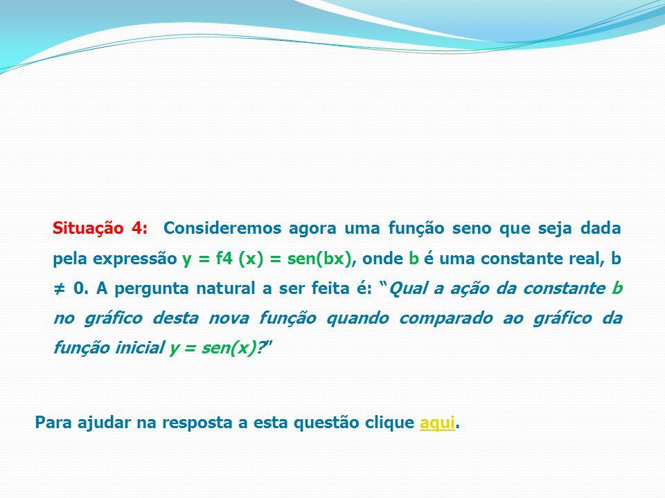 Para ajudar na resposta a esta questão clique aqui.aqui Situação 4: Consideremos agora uma função seno que seja dada pela expressão y = f4 (x) = sen(bx), onde b é uma constante real, b ≠ 0.