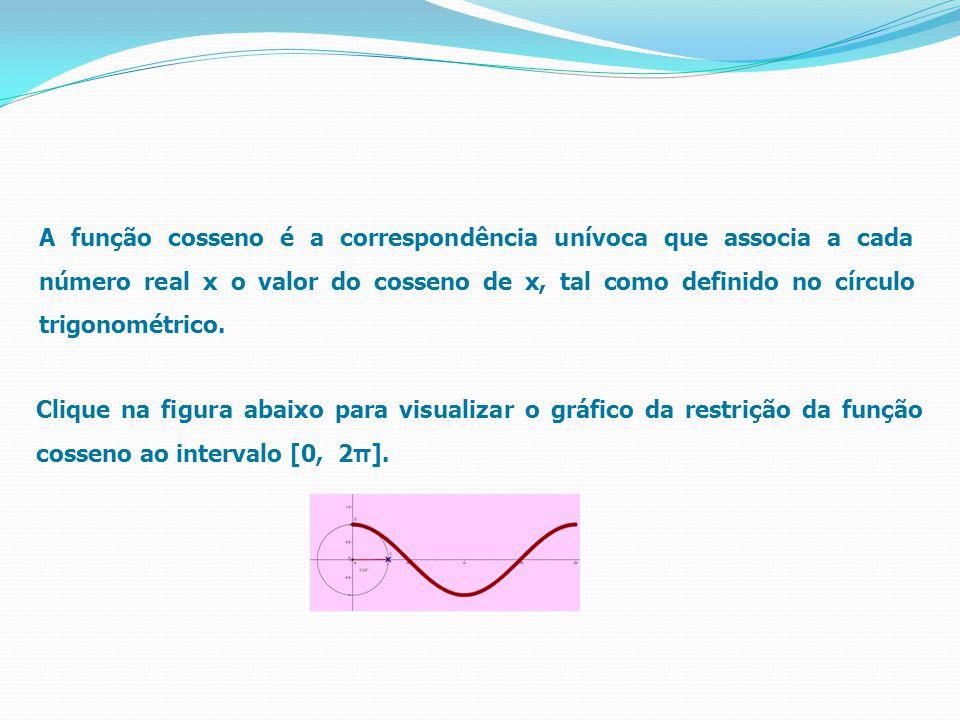A função cosseno é a correspondência unívoca que associa a cada número real x o valor do cosseno de x, tal como definido no círculo trigonométrico. Cl