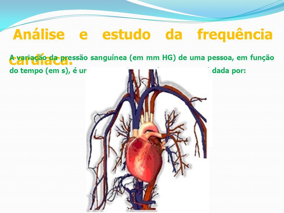 Análise e estudo da frequência cardíaca. A variação da pressão sanguínea (em mm HG) de uma pessoa, em função do tempo (em s), é uma função trigonométr