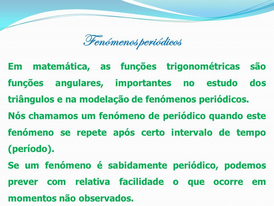 Fenómenos periódicos Em matemática, as funções trigonométricas são funções angulares, importantes no estudo dos triângulos e na modelação de fenómenos periódicos.