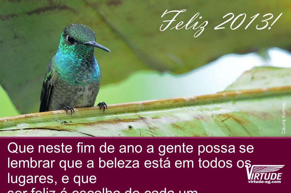 Que neste fim de ano a gente possa se lembrar que a beleza está em todos os lugares, e que ser feliz é escolha de cada um Feliz 2013.