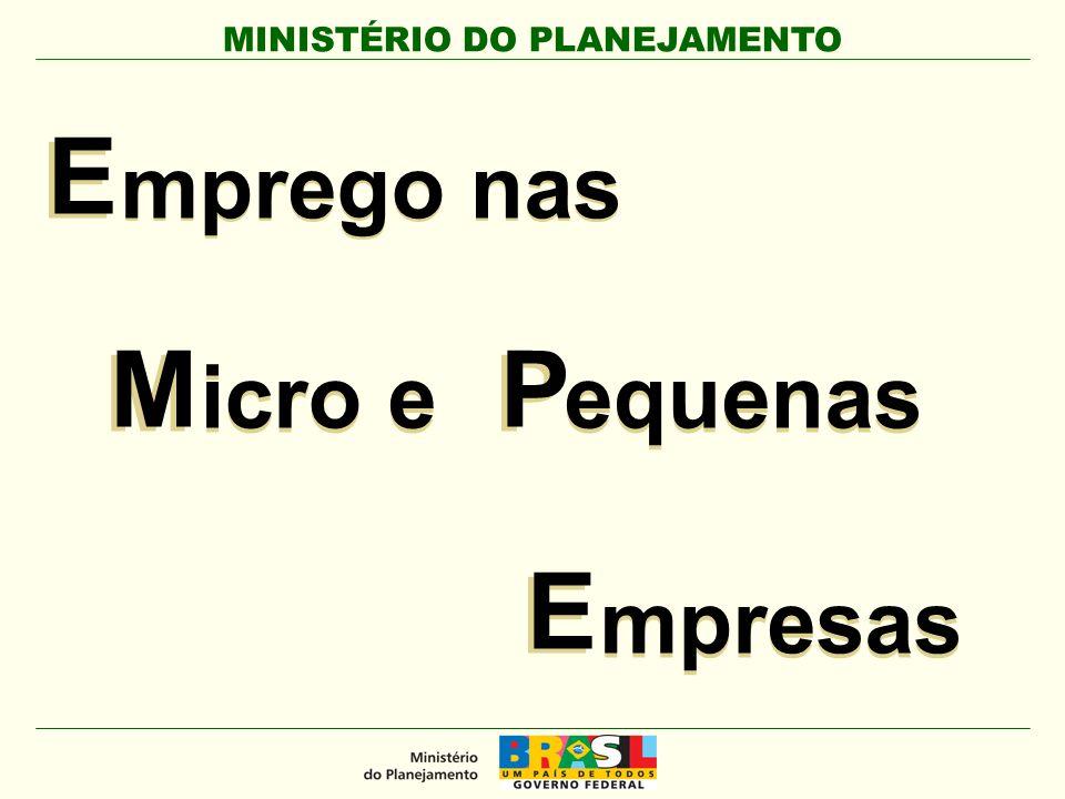 MINISTÉRIO DO PLANEJAMENTO E E mprego nas M M icro e E E mpresas P P equenas