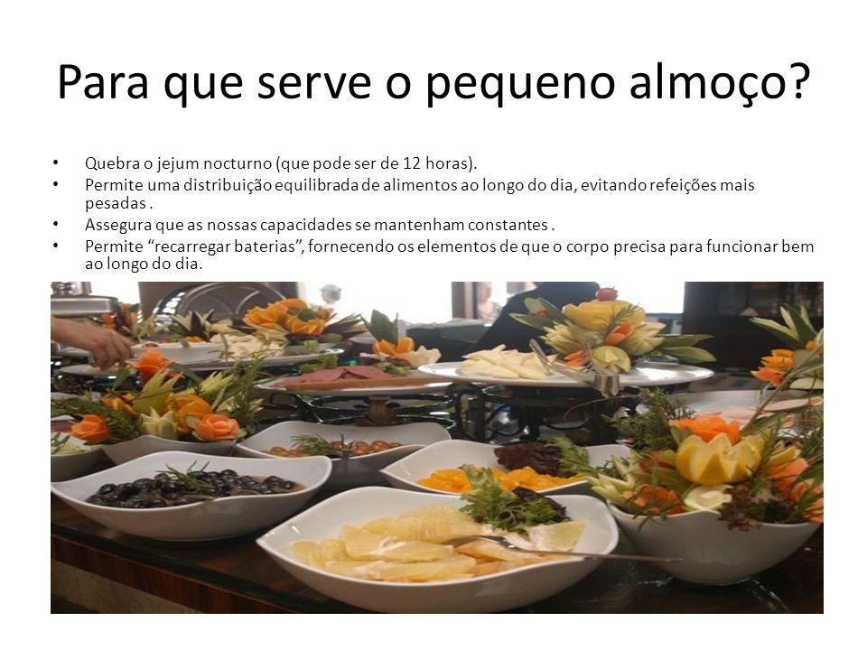 Para que serve o pequeno almoço? • Quebra o jejum nocturno (que pode ser de 12 horas). • Permite uma distribuição equilibrada de alimentos ao longo do