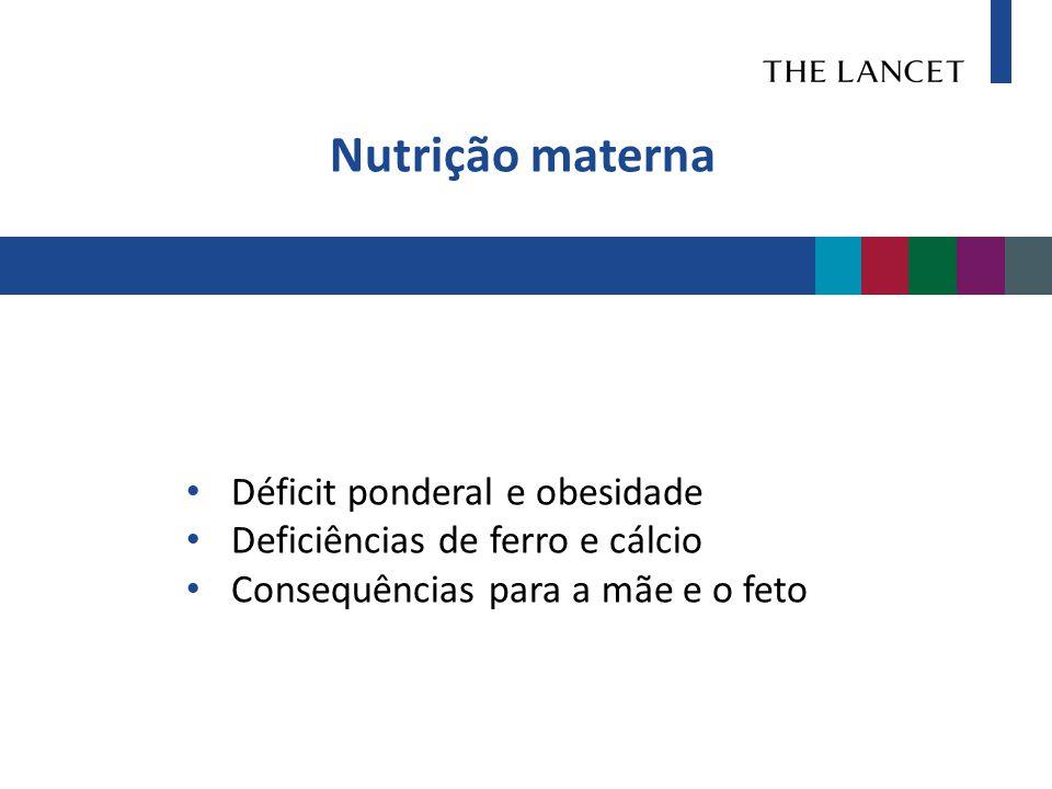 Nutrição materna • Déficit ponderal e obesidade • Deficiências de ferro e cálcio • Consequências para a mãe e o feto