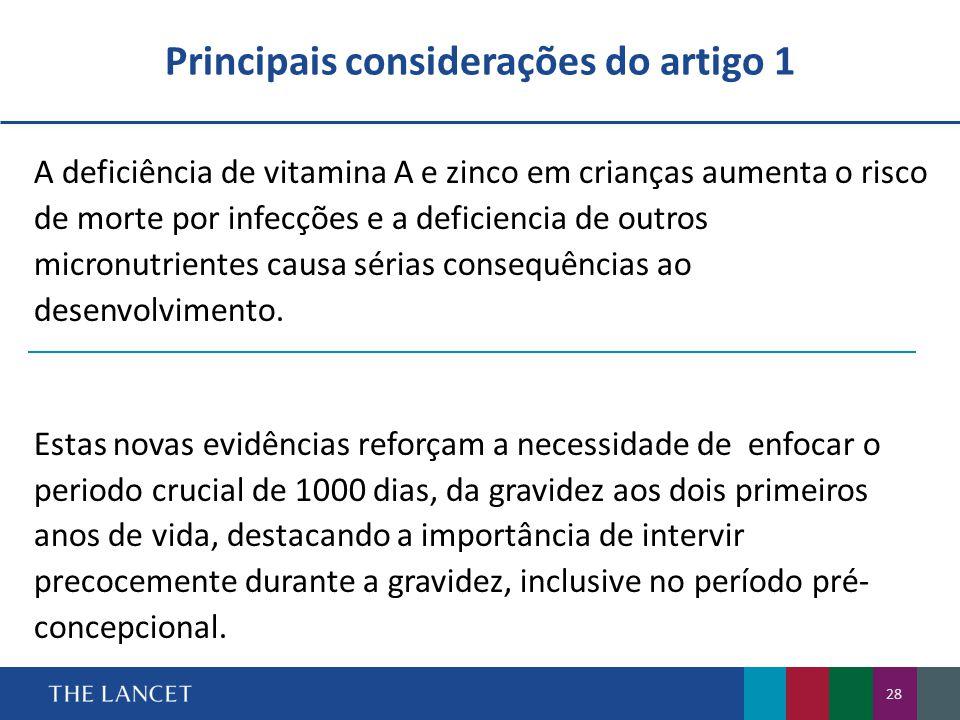Principais considerações do artigo 1 A deficiência de vitamina A e zinco em crianças aumenta o risco de morte por infecções e a deficiencia de outros micronutrientes causa sérias consequências ao desenvolvimento.