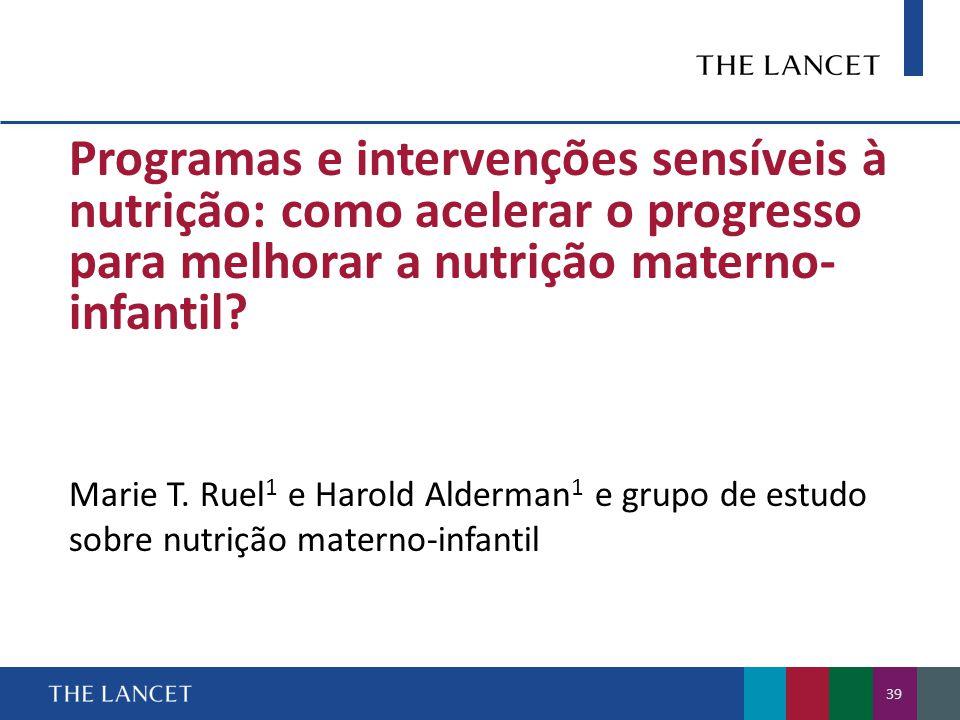 Programas e intervenções sensíveis à nutrição: como acelerar o progresso para melhorar a nutrição materno- infantil.