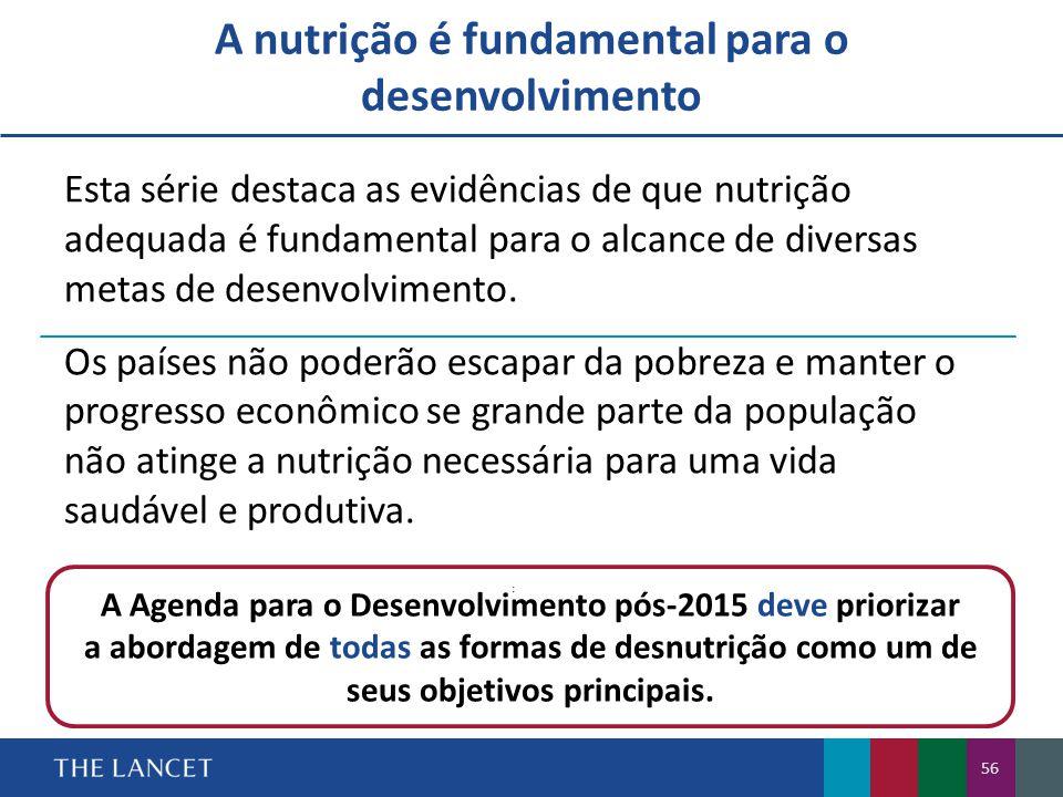 A nutrição é fundamental para o desenvolvimento A Agenda para o Desenvolvimento pós-2015 deve priorizar a abordagem de todas as formas de desnutrição como um de seus objetivos principais.