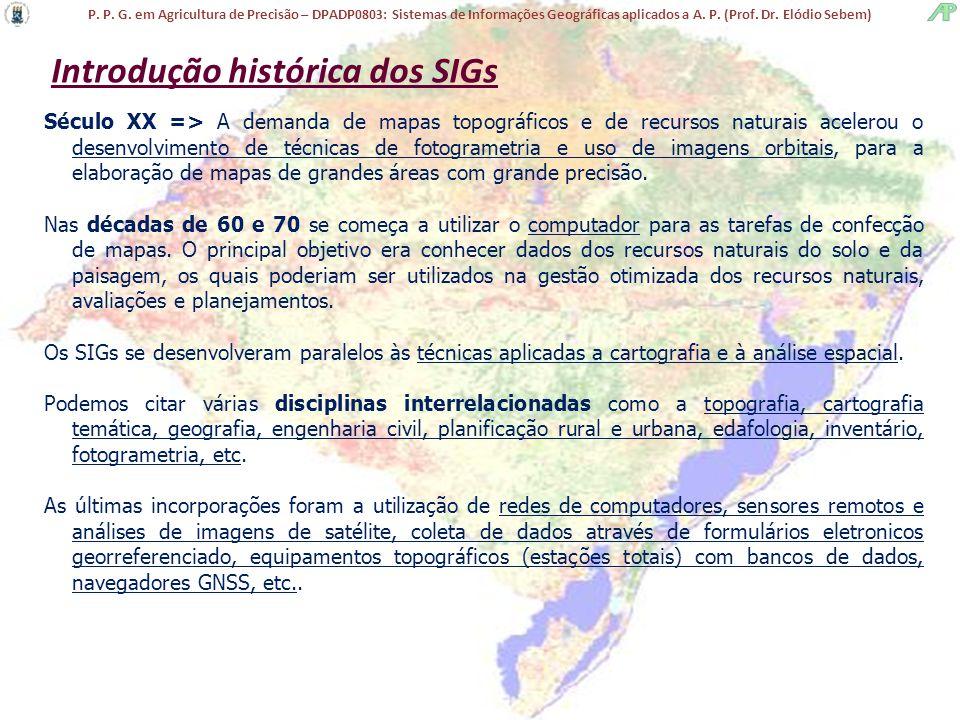 P. P. G. em Agricultura de Precisão – DPADP0803: Sistemas de Informações Geográficas aplicados a A. P. (Prof. Dr. Elódio Sebem) Introdução histórica d