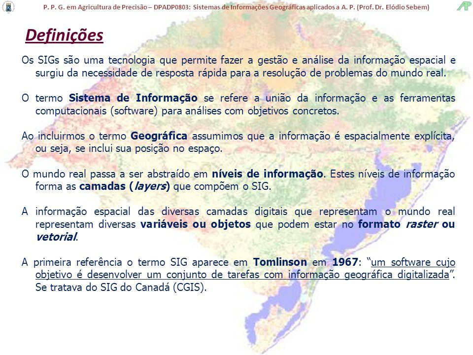 P. P. G. em Agricultura de Precisão – DPADP0803: Sistemas de Informações Geográficas aplicados a A. P. (Prof. Dr. Elódio Sebem) Definições Os SIGs são
