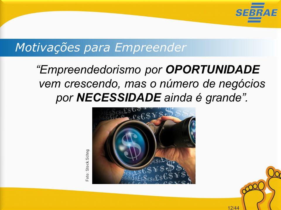 """12/44 Motivações para Empreender """"Empreendedorismo por OPORTUNIDADE vem crescendo, mas o número de negócios por NECESSIDADE ainda é grande"""". Foto: Sto"""