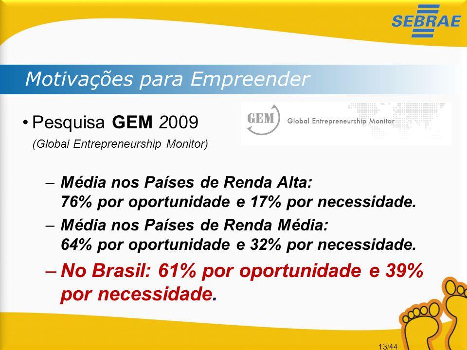 13/44 Motivações para Empreender •Pesquisa GEM 2009 (Global Entrepreneurship Monitor) –Média nos Países de Renda Alta: 76% por oportunidade e 17% por
