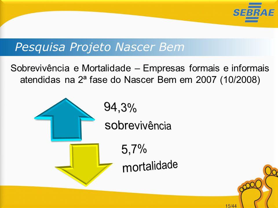 15/44 Pesquisa Projeto Nascer Bem Sobrevivência e Mortalidade – Empresas formais e informais atendidas na 2ª fase do Nascer Bem em 2007 (10/2008)