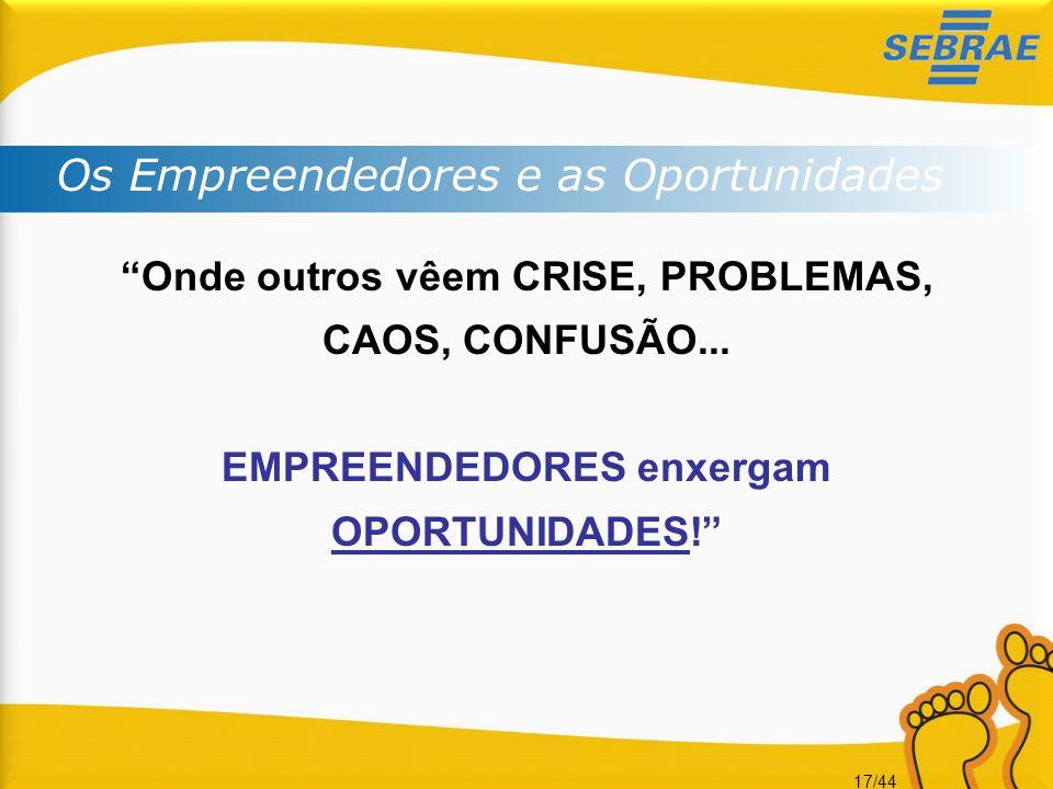 """17/44 """"Onde outros vêem CRISE, PROBLEMAS, CAOS, CONFUSÃO... EMPREENDEDORES enxergam OPORTUNIDADES!"""" Os Empreendedores e as Oportunidades"""