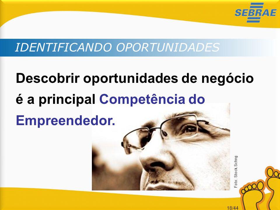 18/44 IDENTIFICANDO OPORTUNIDADES Descobrir oportunidades de negócio é a principal Competência do Empreendedor. Foto: Stock.Schng