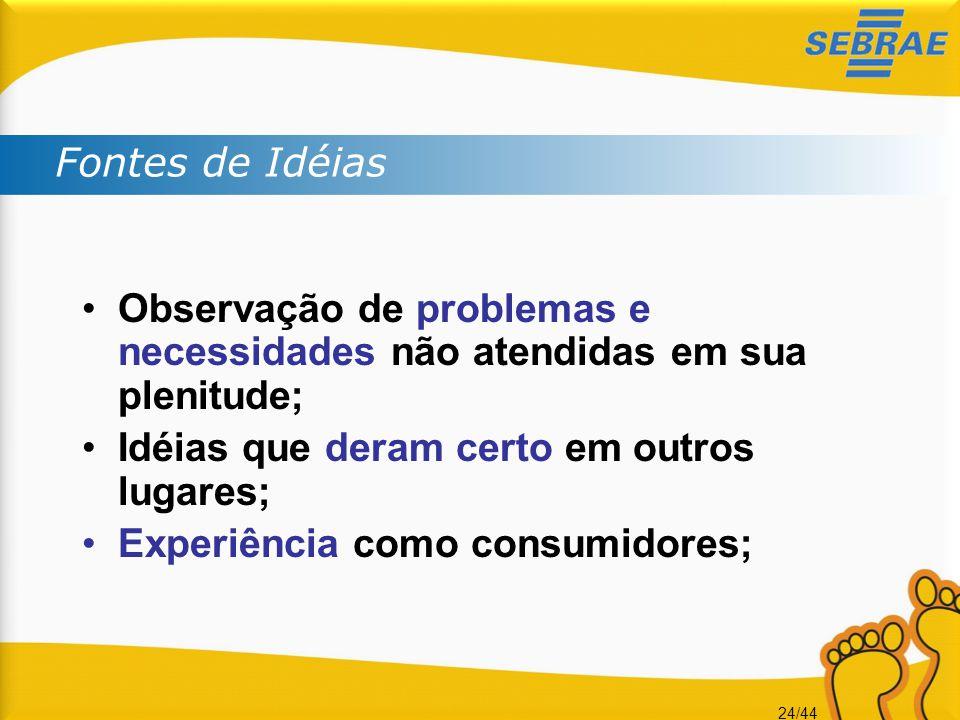 24/44 •Observação de problemas e necessidades não atendidas em sua plenitude; •Idéias que deram certo em outros lugares; •Experiência como consumidore