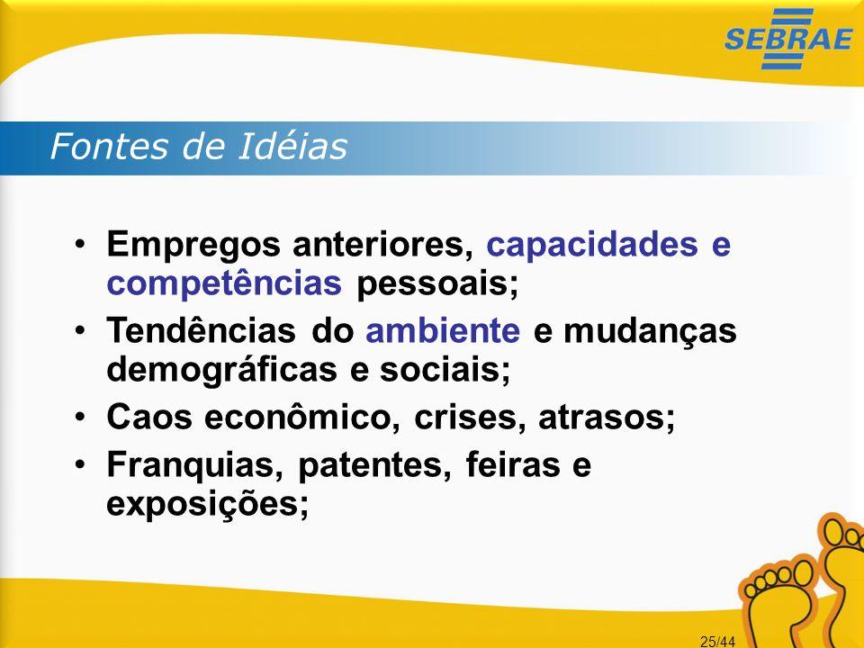 25/44 •Empregos anteriores, capacidades e competências pessoais; •Tendências do ambiente e mudanças demográficas e sociais; •Caos econômico, crises, a
