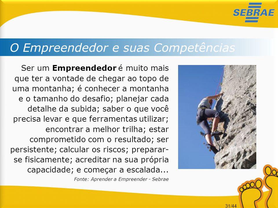 31/44 O Empreendedor e suas Competências Ser um Empreendedor é muito mais que ter a vontade de chegar ao topo de uma montanha; é conhecer a montanha e