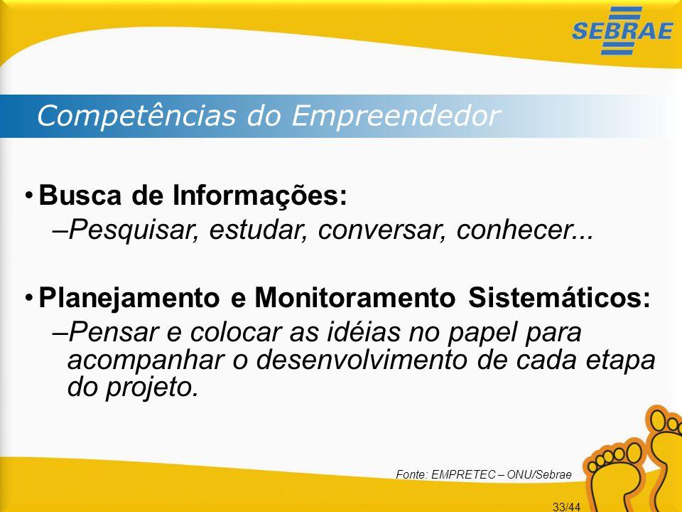 33/44 Competências do Empreendedor •Busca de Informações: –Pesquisar, estudar, conversar, conhecer... •Planejamento e Monitoramento Sistemáticos: –Pen