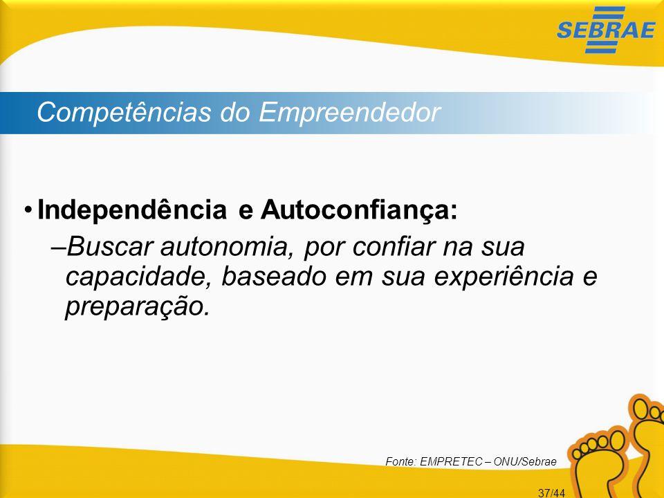 37/44 Competências do Empreendedor •Independência e Autoconfiança: –Buscar autonomia, por confiar na sua capacidade, baseado em sua experiência e prep
